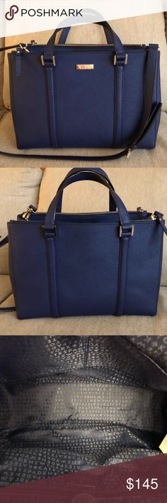 """Kate Spade Newbury Lane Loden Bag Kate Spade Newbury Lane large Loden bag in navy blue!! This bag measures 10.5"""" in height, 13.5"""" in length, and it has a 4.5"""" strap drop. It also has a longer removable strap. The interior has a zip pocket and two multifunctional pockets. There are also two zip pockets on top of the bag. Gorgeous bag in great condition! kate spade Bags Crossbody Bags"""