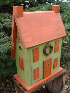 Country Salt Box Houses | Rustic shabby orange saltbox birdhouse primitive distressed style a ...