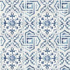Mistana Jovanny Spanish Tile L x W Geometric Wallpaper Roll Look Wallpaper, Tile Wallpaper, Wallpaper Samples, Peel And Stick Wallpaper, Blue Geometric Wallpaper, Blue And White Wallpaper, Wallpaper Backsplash Kitchen, Moroccan Wallpaper, Unusual Wallpaper