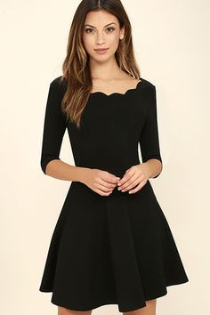 Lulus Exclusive! The Tip the Scallops Black Dress never fails to tip the scales in your favor! A fitted bodice comes with half sleeves and a unique and feminine scalloped bateau neckline that's packed with allure. Thick and super stretchy knit twirls from a banded waist into a flirty full skirt.