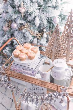 Holiday Bar Cart Inspiration - Pretty Little Details Bar Cart Decor, Bar Cart Styling, Simple Christmas, Christmas Home, Xmas, Christmas Table Settings, Christmas Decorations, Seasonal Decor, Holiday Decor