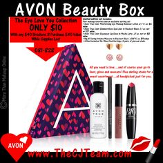The #Avon A Box: Eye Love You Collection- Only $10 with your $40 purchase! All You need is love…and of course your go-to liner, gloss and mascara! Plus darling studs for a sweet assortment…all handpicked just for you. Reg. $40, NOW ONLY $10 with any $40 Campaign 3 purchase (1/4/18 -1/17/18) & Free Shipping. Available for a limited time! #FreeShipping #GWP #WhileSuppliesLast #CJTeam #Sale #ABox #AvonExclusive #Avon4Me #EyeLoveYouCollection #C3 Shop Avon @ www.TheCJTeam.com