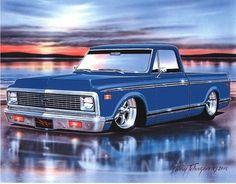 1970 Chevy Fleetside Pickup Truck Art Print w/ Color Options 72 Chevy Truck, Classic Chevy Trucks, Chevy C10, Chevrolet Trucks, Gmc Trucks, Cool Trucks, Pickup Trucks, Classic Cars, Chevy Classic