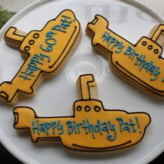 Yellow Submarine Message Cookies by whippedbakeshop.com