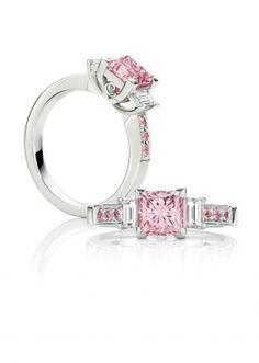The Pink Princess - a stunning 1.52ct Australian Argyle pink diamond ring with white baguettes on the sides and matching pink diamonds down the setting.
