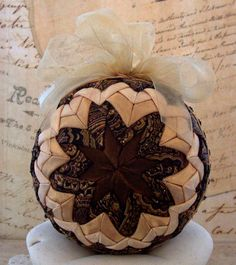 Victorian Ornament Folded Fabric Copper Gold Black Christmas Holiday Decoration Beaded Trim. $35.00, via Etsy.
