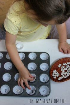 Alphabet beans matching activity- great for learning the alphabet! @imaginationtree
