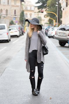 Gray Days: H&M gray bouclé cardigan, floppy hat, AG Jeans black distressed denim, black Hunter boots, black and white striped tee, how to wear Hunter boots, Hunter boots with distressed denim