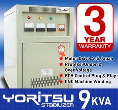 Stabilizer Yoritsu R-9000 kapasitas 9 KVA.  http:// hexta.co.id, email : sales@hexta.co.id, Telp : (021) 2925-5900, 2925-5905 (Huntings)