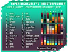 """hyperioncasualty:  """"  We all know we need some more monsters in our life, so why not combine our beloved character+palette art meme's with some! Fun for the whole family!  Small note! with species/specify you just add a little bit more info. Like what..."""