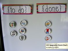 DIY Magnetic Chore Chart - Looks like a great idea to help kids learn and do their chores! Projects For Kids, Crafts For Kids, Diy Projects, Diy Crafts, Chores For Kids, Activities For Kids, Classroom Activities, Chore Magnets, Diy Magnets