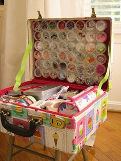 Great idea for my beading stuff, I have lots of hat boxes I can use instead but a big ol' suitcase decopodge'd would work too!