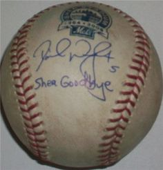 David Wright ''Shea Goodbye'' G/U 08 Shea Stadium Final Season Autographed/Hand Signed Official MLB by Hall of Fame Memorabilia. $213.95. This item comes with the MLB Authentication hologram. This program - which combines the services of a third-party authenticator with a state-of-the-art hologram, a serial numbering system and an online verification process - guarantees the authenticity of its autographed and game-used items. Items and their unique identification numbers...