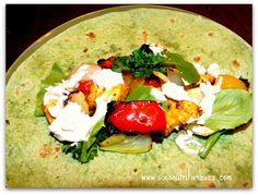 Kebab chicken wrap with grilled veggies & tahini sauce !