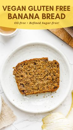 This Easy Vegan Gluten Free Banana Bread is moist, fluffy & incredibly delicious. Made with just 10 pantry staple ingredients and all in A healthy breakfast option that is also oil free and refined sugar free. Banana Bread With Oil, Gluten Free Banana Bread, Banana Bread Recipes, Gluten Free Baking, Banana Oil, Gluten Free Vegan Banana Bread, Easy Healthy Banana Bread, Vegan Breakfast Options, Sugar Free Breakfast