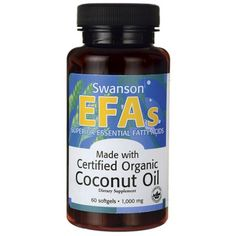 Buy Swanson EFAs Certified Organic Coconut Oil 60 Softgels at Megaviatmins online supplements store Australia.Swanson EFAs Coconut Oil for healthy diet. Organic Unrefined Coconut Oil, Natural Coconut Oil, Coconut Oil Uses, Benefits Of Coconut Oil, Coconut Oil For Skin, Organic Oil, Bio Oil Pregnancy, Coconut Oil Pulling, Essential Fatty Acids