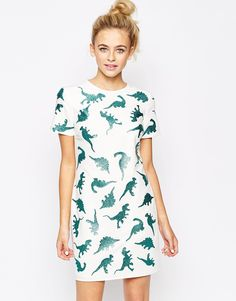 Image 1 of Lashes of London T-Shirt Dress In Dinosaur Metallic Print