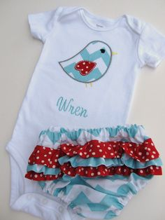 Personalized Onesie and Ruffled Diaper Cover by FunnyFarmCreations