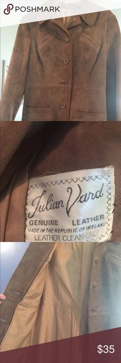 Vintage Leather Coat tan size medium Vintage sold leather jacket, lined. No size listed but I️ think would best fit a medium. Jackets & Coats