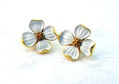 Vintage Earrings White Dogwood Floral On by SunburyVintageStore
