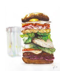 https://flic.kr/p/uY3eqw | Supersize Hamburger | It's time for breakfast! #hamburger #sketch plus #watercolor #foodart by  @designpops  2015