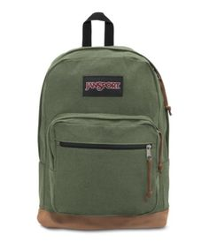 JanSport Right Pack Expressions Backpack - Muted Green Men's Backpacks, Green Backpacks, Vintage Backpacks, School Backpacks, Leather Backpacks, Leather Bags, Suede Leather, Mochila Jansport, Jansport Backpack