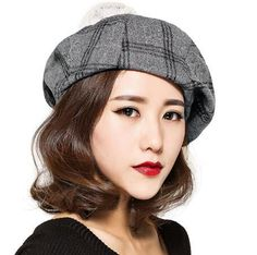 268c5006109ba Plaid beret hat with pom pom for ladies warm winter wool hats