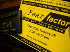 Fear Factor YW/YM activity Also a good website for YW ideas, fun camp game Mutual Activities, Youth Group Activities, Youth Games, Young Women Activities, Therapy Activities, Sisterhood Activities, Teen Activities, Sunday Activities, Church Activities