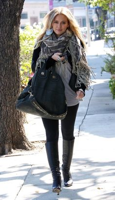 Hilary Duff and Tolani Cape With Leather Fringe Scarf Photograph