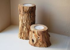 Pair of Wood Candle Holders Rustic Home Decor by NatureBound
