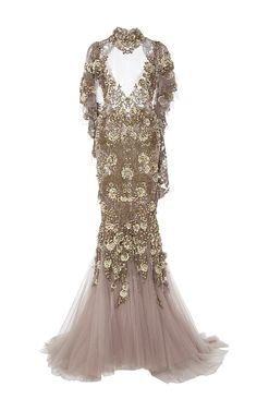 Tulle Fishtail Gown  by MARCHESA for Preorder on Moda Operandi