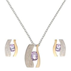 Silverly 14K Gold-Plated .925 Sterling Silver Amethyst Eye Earrings Pendant Necklace Set, 46 cm. 925 Sterling Silver with sand blast, rhodium and anti tarnish finish. The yellow bar is 3 microns 14 K gold plated. Oval cut amethyst gemstone. Pendant length 21 mm. Width 14 mm. Chain length 460 mm. Length 13.4 mm, width 10 mm.
