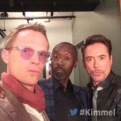 Paul Bettany, Don Cheadle and Robert Downey Jr.