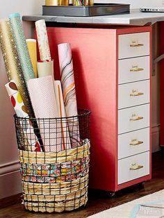 Storage baskets, organization, wrapping paper