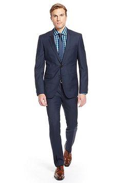 'Ryan/Win' | Extra Slim Fit, Virgin Wool Plaid Suit, Medium Blue