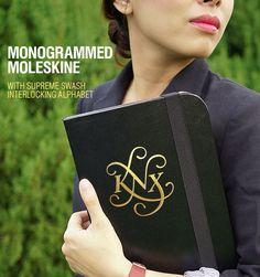 Monogrammed Moleskine with Supreme Swash Interlocking Monogram Alphabet by Monogramix