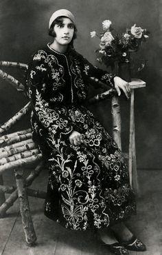 Young Jewish girl dressed in a characteristically Sephardic dress. Dupnitsa, Bulgaria, 1920s.