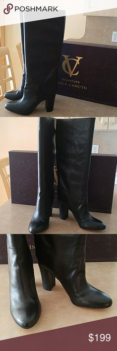 "Vince Camuto Signature Tiona Boots Brand new.  Black Leather.  Round toe.  Pull on.  Covered heel.  Approx heel size 3.5"".  Approx calf circumference 15"".  Approx shaft height 14.5"" Vince Camuto Shoes Heeled Boots"