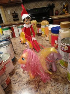 The Snow Family: Nathan the Elf  (this mom has some really cute and original ideas) holiday, shelf idea, sleigh ride, kitchen pantries, ponies, decorating ideas, shelves, families, christma