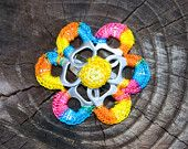 Rainbow Pop Tab Upcycled Crochet Flower Barrette