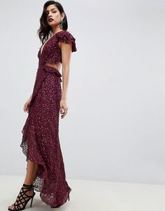 873d0a7843a DESIGN ruffle maxi dress with open back in all over sequin