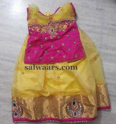 Stone Work Light Yellow Lehenga - Indian Dresses Kids Indian Wear, Kids Ethnic Wear, Kids Party Wear, Kids Wear, Toddler Fashion, Kids Fashion, Kids Blouse Designs, Wedding Dresses For Kids, Kids Dress Patterns