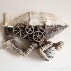 Miner, Ceramic Sculpture, Wall art