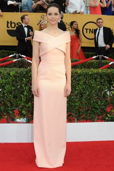 Felicity Jones on the SAG Awards Red Carpet. [Photo by Amy Graves] Beautiful Gowns, Most Beautiful Women, Hollywood Fashion, Hollywood Style, Party Fashion, Fashion Show, Social Dresses, Red Carpet Gowns, Sag Awards