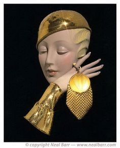 """stunning!))) 1933-Evening Shinny Gold Flat Mesh Hat & Cuff Set,    From Neal Barr's """"20's Fashion book""""    Photography Neal Barr"""