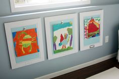 From iheartorganizing - LOVE this idea for the lads' artwork. Basement Progress: Playroom Art Display