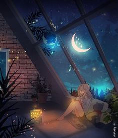 Art drawing - A Special Place - night sky window view - cozy loft - moon beams - night owl Anime Scenery Wallpaper, Wallpaper Backgrounds, Animes Wallpapers, Cute Wallpapers, Aesthetic Art, Aesthetic Anime, Arte Indie, Japon Illustration, Moon Art