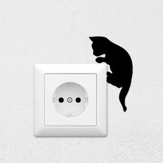 Hot Black Cat Wall Sticker Switch Film Removable PVC Switch Sticker for Living Room Bedroom. Wall Painting Decor, Stencil Painting, Wall Decor, Wall Art Designs, Paint Designs, Simple Wall Paintings, Cat Template, Wall Drawing, Cat Wall