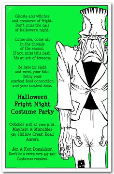 Halloween Invitations: Frankenstein Lives Halloween Party Invitations from Announcingit.com   #Halloween #HalloweenInvitations #HalloweenParty