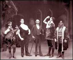 A gathering of Barnum's most successful exhibitions: Laloo, left, with Young Herman, anatomical wonder, John Coffey, living skeleton, James Morris, rubber-skinned man, and Jo-Jo, dog-faced boy.